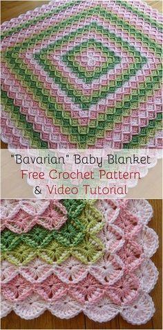 [Cozy] Bavarian Baby Blanket Free Crochet Pattern & Video Tutorial: Visit pattern site and follow video tutorial! #crochet #stitch