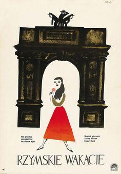 1959 Polish poster for Roman Holiday (William Wyler, USA, Artist: Jerzy Flisak Polish Movie Posters, Polish Films, Roman Holiday Movie, Audrey Hepburn Roman Holiday, Kunst Poster, D House, Poster Prints, Art Prints, Poster Vintage