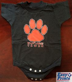 School Spirit onesie for baby; change to your baby's future mascot: CP-25 More ideas at easyprints.com [Spirit Wear] School Spirit Wear, Simple Prints, Screen Printing, Onesies, Change, Future, Baby, Kids, How To Wear