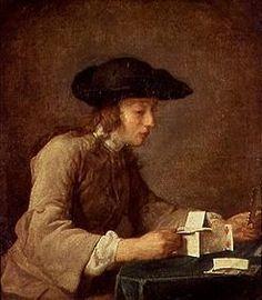 Das Kartenhaus. - Jean-Baptiste Siméon Chardin