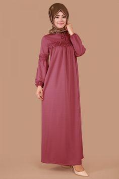 Yaka Bağcıklı Dantel Detay Elbise Gül Kurusu Ürün Kodu: MDP3017--> 59.90 TL