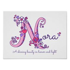 List Of Girls Names, Girl Names With Meaning, Kid Names, Nursery Monogram, Monogram Initials, Nora Name, Baby Lovies, Letter N, Name Art