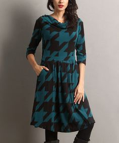 This Emerald Houndstooth Drape Neck Fit & Flare Dress is perfect! #zulilyfinds