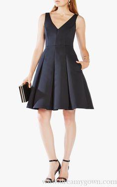 A-line BCBG Tilldan Pleated Short Cocktail Dress Black