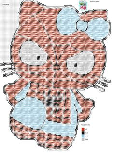 HELLO KITTY AS SPIDERMAN by LISA HEATHER*LILCHERRY DESIGNS -- WALL HANGING