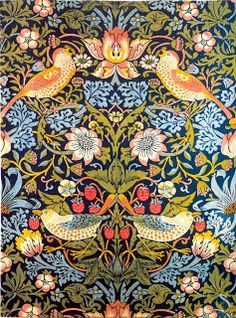 William Morris - Srawberry Thief in the multi colour version. My mother had this fabric in our dining room and I loved it. The dining table and chairs were Oak Arts and Crafts and she had a collection of Moorcroft pottery which complmented the style. R McN