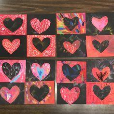 Kindergarten Valentine's day art, kindergarten art, elementary valentine's day art, #kindergartenart #primaryart #elementaryart #heartart
