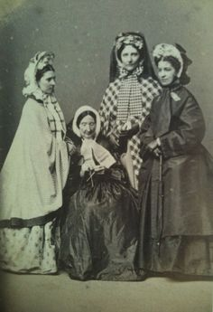 Four elegantly attired American ladies, 1860s. #Victorian #women #portrait