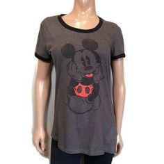 Disney Mickey Mouse Ringer Tshirt Womens Size XL Gray Black Faded Asymmetric #Disney #Ringer #Casual Disney Brands, Fade To Black, Ringer Tee, White Casual, Disney Mickey Mouse, Blouses, T Shirts For Women, Gray, Mens Tops