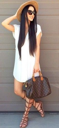 #summer #alyssa #outfits | Little White Dress + Browns