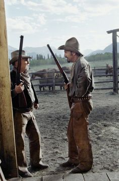 OPEN RANGE - Robert Duvall & Kevin Costner on location in Canada - Directed by Kevin Costner - Warner Bros.