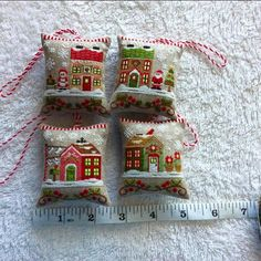 Santa's Village stitched on 35 count linen (over one)  - Country Cottage Needlework