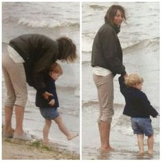 Prince George at the beach with his grandmother, Carole.