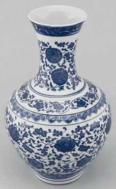Asian Decor: Blue and White Porcelain Vase from Beijing, China
