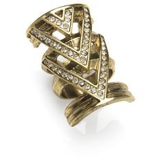 House of Harlow Crystal Chevron Ring