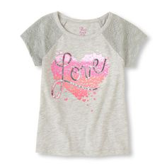 Lacy sleeves and sparkling sequins lend a lot to LOVE about this soft tee!