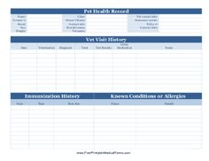 A printable pet health record for use by veterinarians or pet owners. Includes room to record identifying information as well as vet visits and immunization history. Free to download and print