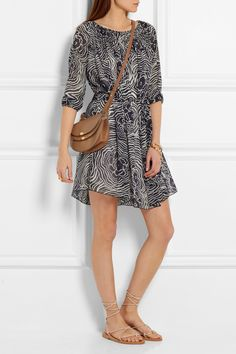 See by Chloé | Printed silk-georgette mini dress | NET-A-PORTER.COM