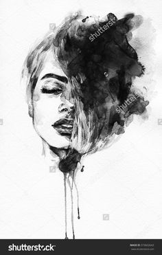 Image result for black and white watercolour portraits