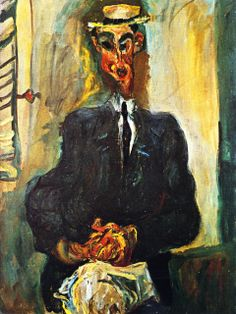 chaïm soutine(1894-1943), man with straw hat, c.1921. oil on canvas, 81x 60 cm. private collection http://www.the-athenaeum.org/art/detail.php?ID=56652