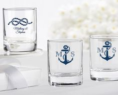 Personalized Nautical Themed Shot Glass/Votive Holder (Wedding) $1.50