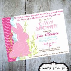 BUNNY Rabbit Themed Baby Shower Invitation-Printable party invitations by Luv Bug Design