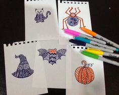 Using Zentangle Inspired Art For Kids As A Quick Halloween Craft