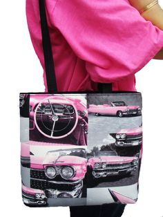"US HANDMADE FASHION PINK CADILLACS CARS RETRO ROCKABILLY Pattern Shoulder Bag Style Handbag Purse Cotton Fabric , BB 3126. US HANDMADE BUCKET STYLE BAG:. Size: 9"" length x 9"" high , 12"" DOUBLE shoulder handle, Completely Red Satin Lined Inside. INSIDE Zipper Pocket, Top Zipper Closure, 4 layers Of Fabric. 4 layers of material. THIS ITEM COMES WITH ASSORTED IMAGES."