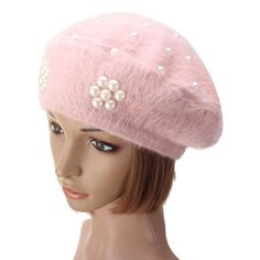 Soft Rabbit Fur Cotton Beret Flower Pearl Beaded Hat Thermal Knitted Beanie Hat - Gchoic.com