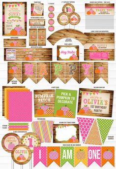 Printable Girls Pumpkin Patch Birthday Party Package Decorations | Pink and Orange Pumpkin Party | Pumpkin Patch Invitation and Thank You Card | 1st or 2nd Birthday | Fall Festival | October or Halloween Birthday | Cupcake Toppers | Favor Tag | Food Label | Banner | Candy Bar Wrappers | Signs | Photo Props
