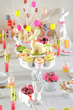 Easter Table with Color Scheme of: White, Neon Pink, Green, Yellow, and a Touch of Slate Blue.