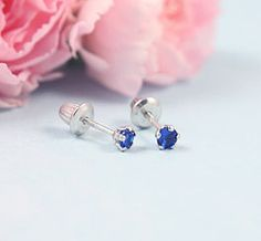 Sterling Birthstone Earrings for babies and children. Screw backs.