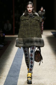 Prada Fall 2016 Ready-to-Wear Fashion Show  The return of argyle legwear--are you ready??  http://www.theclosetfeminist.ca/  http://www.vogue.com/fashion-shows/fall-2016-ready-to-wear/prada/slideshow/collection#21