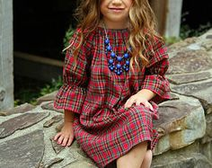 Girls Flannel Dress, Red Plaid, three quarter Christmas dress, Thanksgiving dress, winter, coming home outfit, baby, toddler, girls