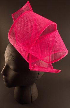 Hot Pink Sinamay Fascinator by BelledeBenoir on Etsy, $35.00
