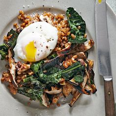 Wheat Berries with Grilled Mushrooms and Kale  (Pro tip: If you can't find wheatberries at your grocery store, you can use farro or brown rice instead.)