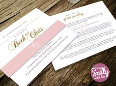 A contemporary, romantic wedding invitation for Beth and Chris getting married at St. Audries Park in Somerset.   #pink #gold #contemporary #modern #bellyband #clean #typographic #5x7 #silk #bespoke #personalised #love #engaged #wedding #invitations #RSVP #moreinfo
