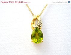 40% Off Peridot Diamond Necklace 10K Gold by TheJewelryLadysStore