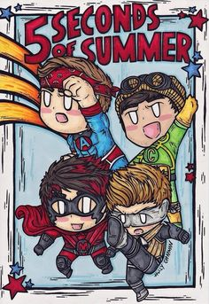 5 seconds of summer cartoon                                                                                                                                                     Más