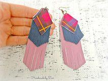 Pendientes Largos Cuero Flecos Multicolor