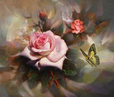 Rose and Butterfly. By Lee Yong Su Rose Oil Painting, Silk Painting, Art Floral, Watercolor Artists, Watercolor Flowers, Flower Images, Flower Art, Kevin Hill Paintings, Islamic Paintings