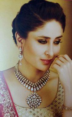 Bollywood Saree, Bollywood Fashion, Wedding Reception Makeup, Karena Kapoor, Indiana, Princess Jewelry, India Jewelry, Jewellery, Kareena Kapoor Khan