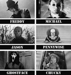 Horror ok, someone loves me, these are all my fave psycho horror movie killers, minus jigsaw from saw