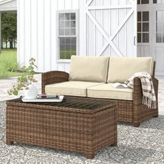 Birch Lane™ Heritage Lawson 2 Piece Rattan Sofa Seating Group with Cushions Cushion Color: Sangria, Frame Color: Brown Outdoor Sofa Sets, Outdoor Living, Outdoor Furniture Sets, Outdoor Decor, Rustic Outdoor, Deep Sofa, Rattan Sofa, Wicker, White Cushions