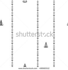 Seamless pattern with wigwams and horizontal ornamental strips. Can be used for wallpaper, scrapbooking, party decorations, gift wrap, print on fabrics, covers.