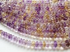 Ametrine Faceted Rondelle Beads Ametrine Beads by gemsforjewels