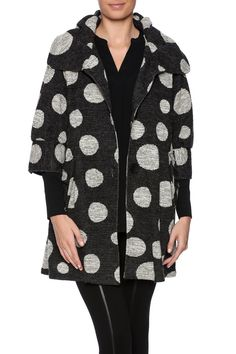 Three button half-sleeve knit polka dot swing coat with pleated pocket detail. This swing coat is an instant classic, cut to lay just right and give the right amount of movement. Can be worn with black, charcoal or winter white bottoms.   Polka Dot Swing Jacket by Talk of the Walk. Clothing - Jackets, Coats & Blazers - Coats Atlantic City, New Jersey New Jersey