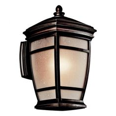 Kichler Lighting 49271RZ McAdams Outdoor Sconce, Rubbed Bronze by Kichler. $160.20. From the Manufacturer                Finish: Rubbed Bronze, Glass: Light Umber Etched Seedy, Light Bulb:(1)100w A19 Med F Incand McAdams exterior sconce.                                    Product Description                Finish:Rubbed Bronze, Glass:Light Umber Etched Seedy, Light Bulb:(1)100w A19 Med F Incand McAdams exterior sconce