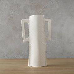 """capri white vase, 100% stoneware, 9.25""""w x 3.5""""d x 16.25""""h, $39"""