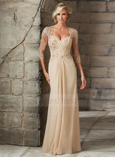 A-Line/Princess V-neck Floor-Length Chiffon Tulle Mother of the Bride Dress With Beading Appliques Lace (0085060118) - Vbridal